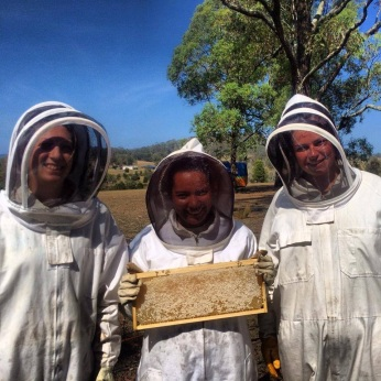 Beekeeping at the farm in Australia