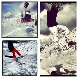 Snowboard jumps in Les Arcs