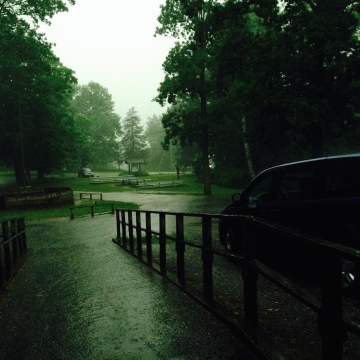 Summer camp storms rain