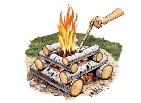 A log cabin campfire