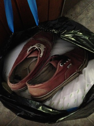 Summer camp vans shoes trash bin old shoes