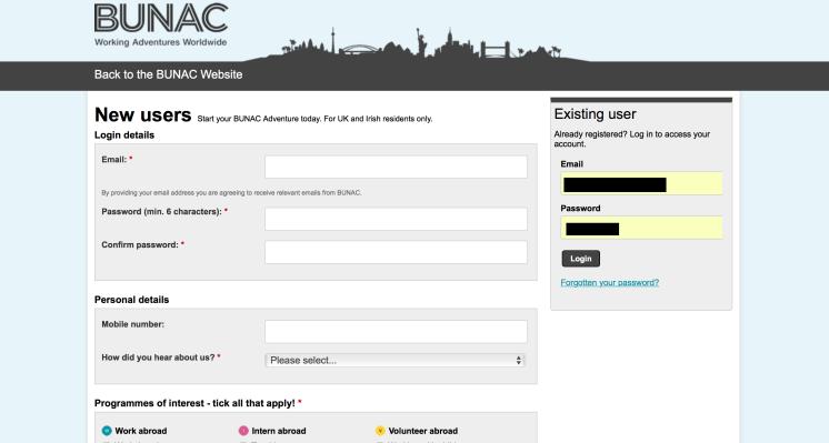 BUNAC login Application