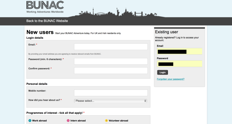 BUNAC login Application