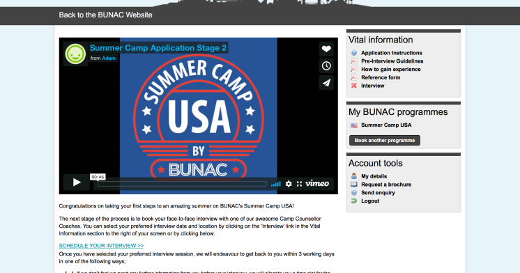 Summer Camp BUNAC Application