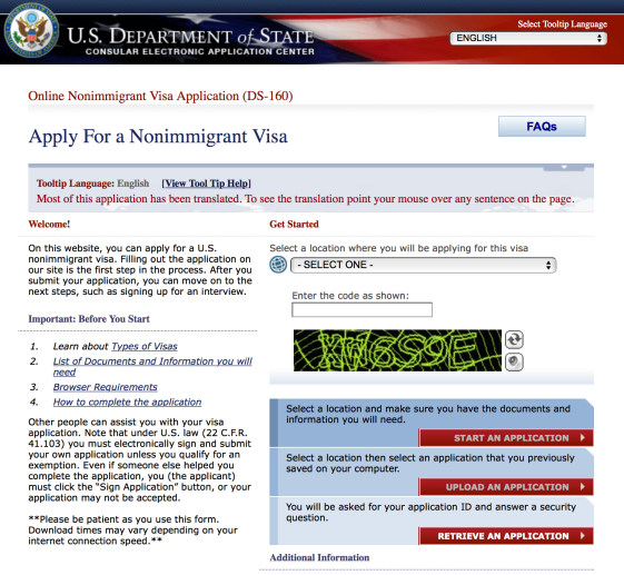 DS160 visa application